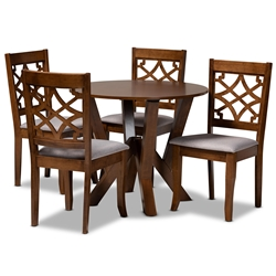 Baxton Studio Alisa Modern and Contemporary Grey Fabric Upholstered and Walnut Brown Finished Wood 5-Piece Dining Set Affordable modern furniture in Chicago, classic dining room furniture, modern dining sets, cheap dining sets