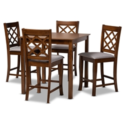 Baxton Studio Alora Modern and Contemporary Grey Fabric Upholstered Walnut Brown Finished 5-Piece Wood Pub Set Affordable modern furniture in Chicago, classic dining room furniture, modern dining sets, cheap dining sets