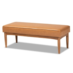 Baxton Studio Arvid Mid-Century Modern Tan Faux Leather Upholstered and Walnut Brown Finished Wood Dining Bench