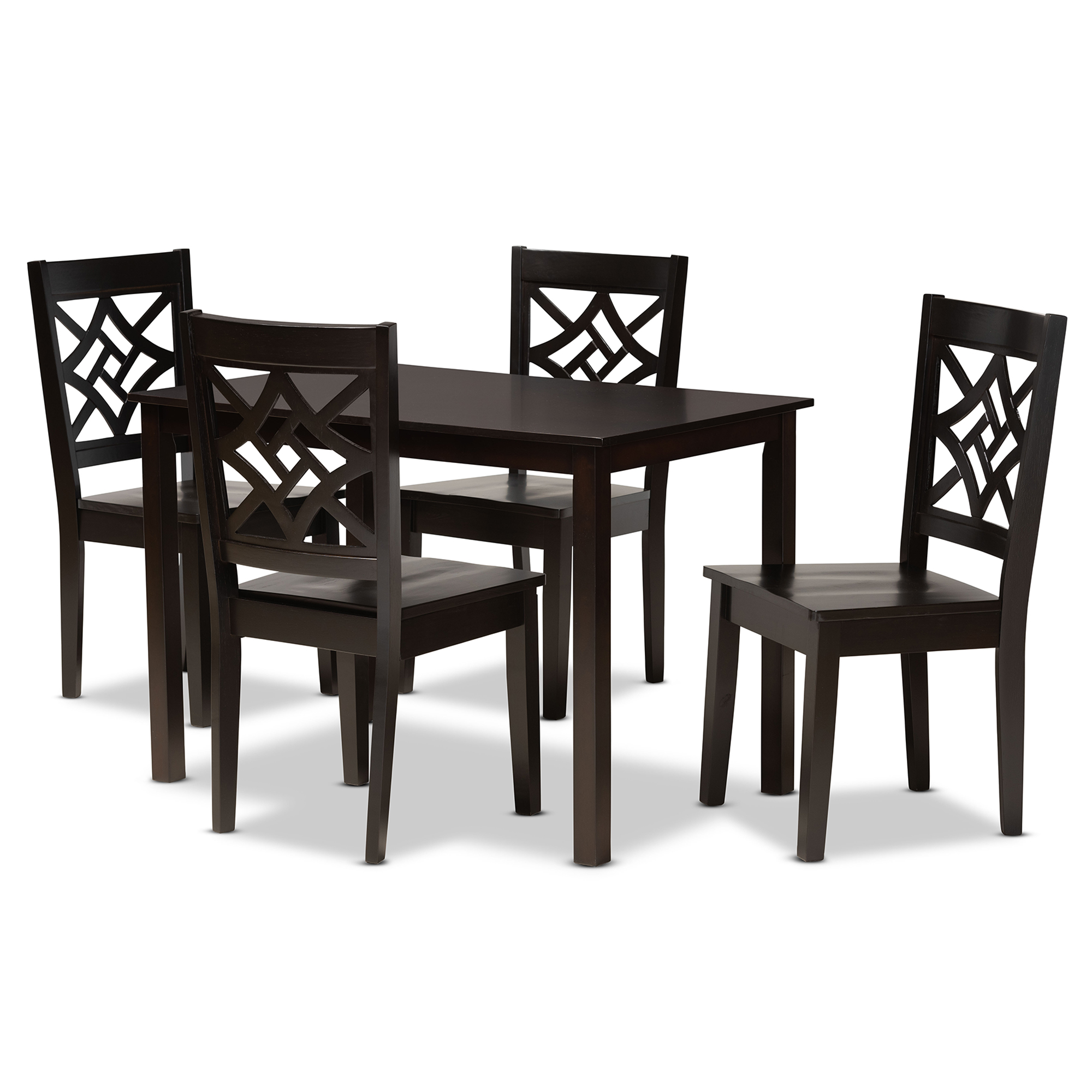 Baxton Studio Nicolette Modern And Contemporary Dark Brown Finished Wood 5 Piece Dining Set