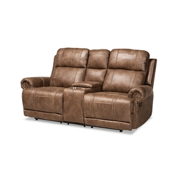Baxton Studio Buckley Modern and Contemporary Light Brown Faux Leather Upholstered 2-Seater Reclining Loveseat with Console