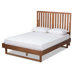 Baxton Studio Marin Modern and Contemporary Walnut Brown Finished Wood Queen Size Platform Bed