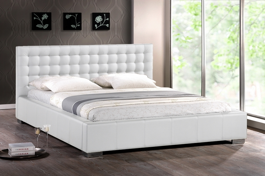 Modern Bed madison white modern bed with upholstered headboard - queen size