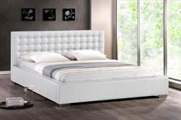 Baxton Studio Madison White Modern Bed with Upholstered Headboard - King Size affordable modern furniture in Chicago, bedroom furniture, Madison White Modern Bed with Upholstered Headboard - King Size
