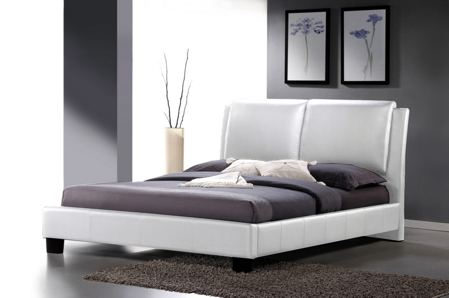Baxton Studio Sabrina White Modern Bed with Overstuffed Headboard - King Size affordable modern furniture in Chicago, bedroom furniture, Sabrina White Modern Bed with Overstuffed Headboard - King Size