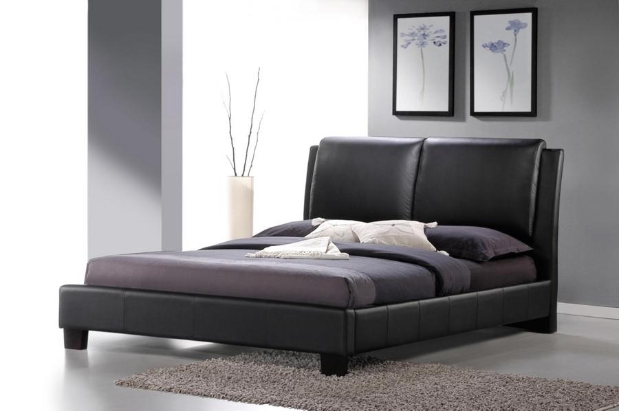 White Leather Queen Bed Part - 45: Baxton Studio Sabrina Black Modern Bed With Overstuffed Headboard - Queen  Size - BSOBBT6082-Black ...