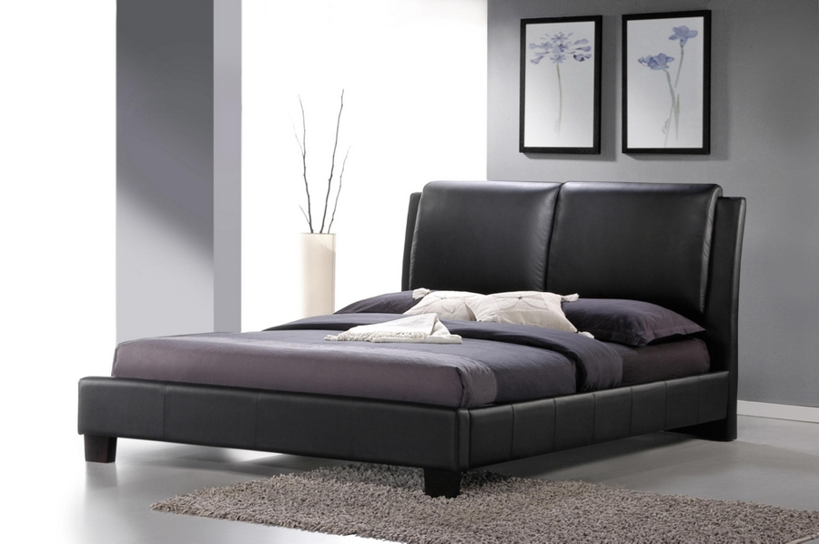 Baxton Studio Sabrina Black Modern Bed with Overstuffed Headboard - Queen Size affordable modern furniture in Chicago, bedroom furniture, Sabrina Black Modern Bed with Overstuffed Headboard - Queen Size