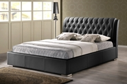Baxton Studio Bianca Black Modern Bed with Tufted Headboard - Queen Size affordable modern furniture in Chicago, bedroom furniture, Bianca Black Modern Bed with Tufted Headboard - Queen Size