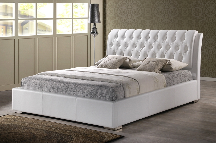 bianca white modern bed with tufted headboard  king size, Headboard designs