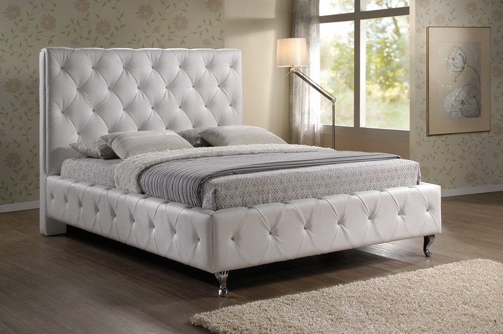 Baxton Studio Stella Crystal Tufted White Modern Bed With Upholstered Headboard King Size