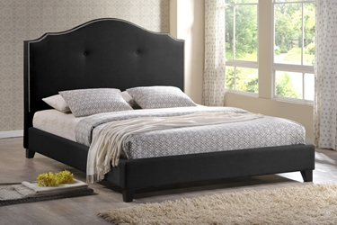 Baxton Studio Marsha Scalloped Black Modern Bed with Upholstered Headboard - King Size Affordable modern furniture in Chicago, Baxton Studio Marsha Scalloped Black Modern Bed with Upholstered Headboard - King Size,  Bedroom Furniture  Chicago