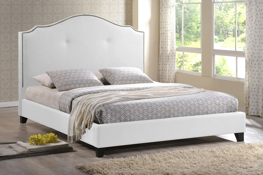 White King Platform Bed Part - 50: ... Baxton Studio Marsha Scalloped White Modern Bed With Upholstered  Headboard - King Size - BSOBBT6292 Bed