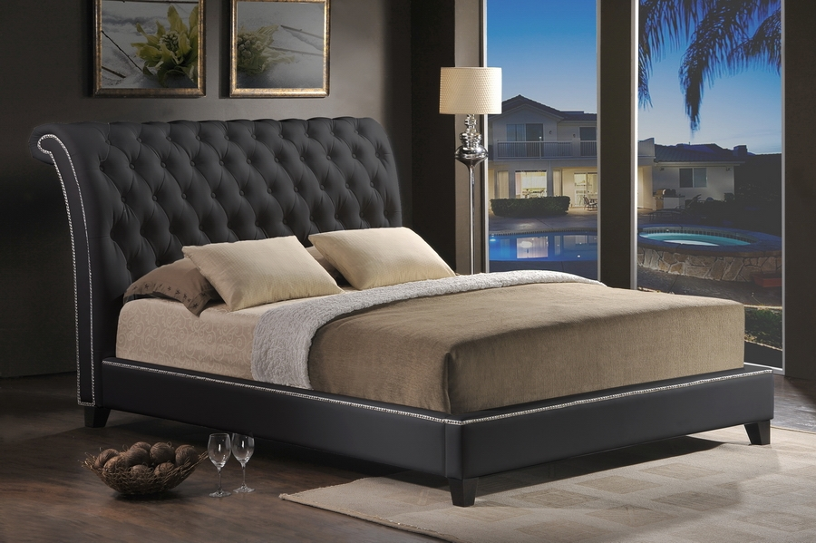 baxton studio jazmin tufted black modern bed with upholstered, Headboard designs