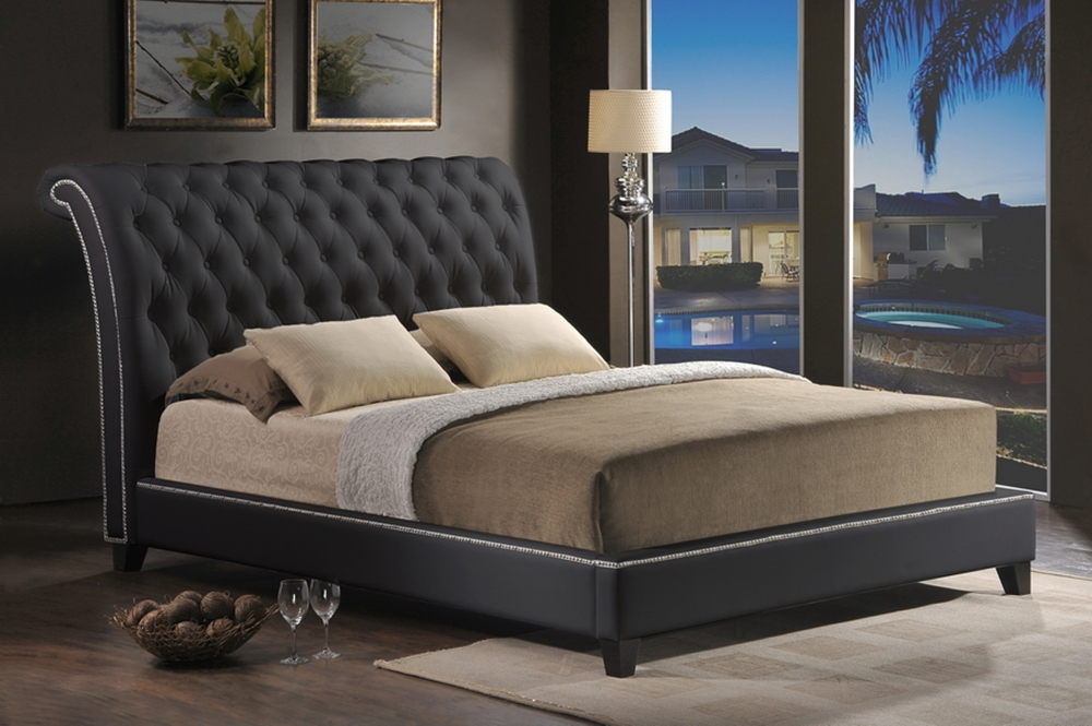 ... Baxton Studio Jazmin Tufted Black Modern Bed with Upholstered Headboard  - Queen Size - BSOBBT6293 Bed - Baxton Studio Jazmin Tufted Black Modern Bed With Upholstered