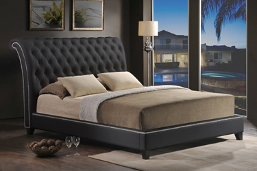 Baxton Studio Jazmin Tufted Black Modern Bed with Upholstered Headboard - King Size Affordable modern furniture in Chicago, Baxton Studio Jazmin Tufted Black Modern Bed with Upholstered Headboard - King Size - $317,  Bedroom Furniture  Chicago