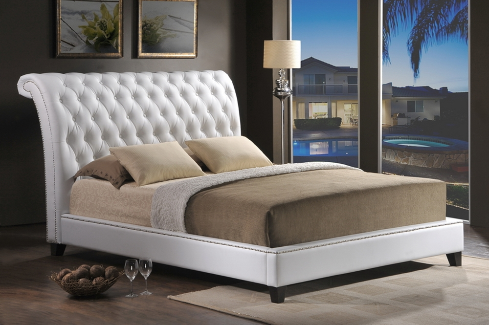 Baxton Studio Jazmin Tufted White Modern Bed With Upholstered Headboard Queen Size Bsobbt6293