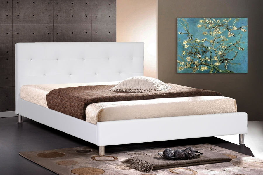 Barbara White Modern Bed with Crystal Button Tufting - King Size ...