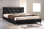 Baxton Studio Barbara Black Modern Bed with Crystal Button Tufting - Queen Size affordable modern furniture in Chicago, bedroom furniture, Barbara Black Modern Bed with Crystal Button Tufting - Queen Size