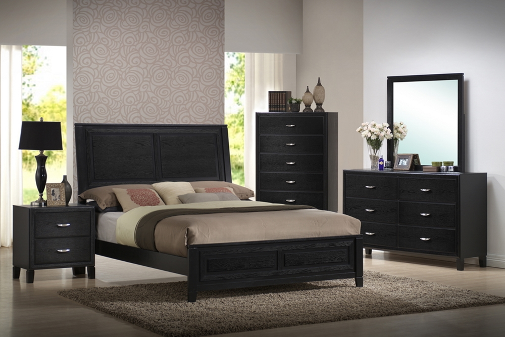 Baxton Studio Eaton Black Wood 5 Piece Queen Modern Bedroom Set