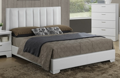 Baxton Studio Carlson White Wood Queen Size Modern Bed affordable modern furniture in Chicago, Carlson White Wood Queen Size Modern Bed,Bar Furniture Chicago