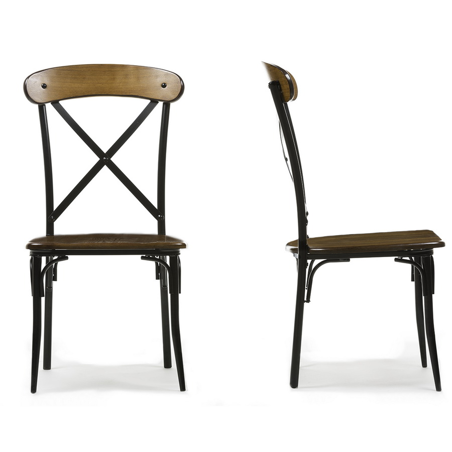 baxton studio broxburn light brown wood  metal dining chair (set of ) . baxton studiobroxburn light brown wood  metal dining chair