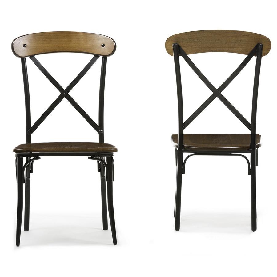 ... Baxton Studio Broxburn Light Brown Wood U0026 Metal Dining Chair (Set Of 2)  ...