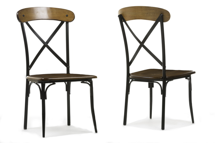 Metal Dining Chairs Wood Table baxton studiobroxburn light brown wood & metal dining chair