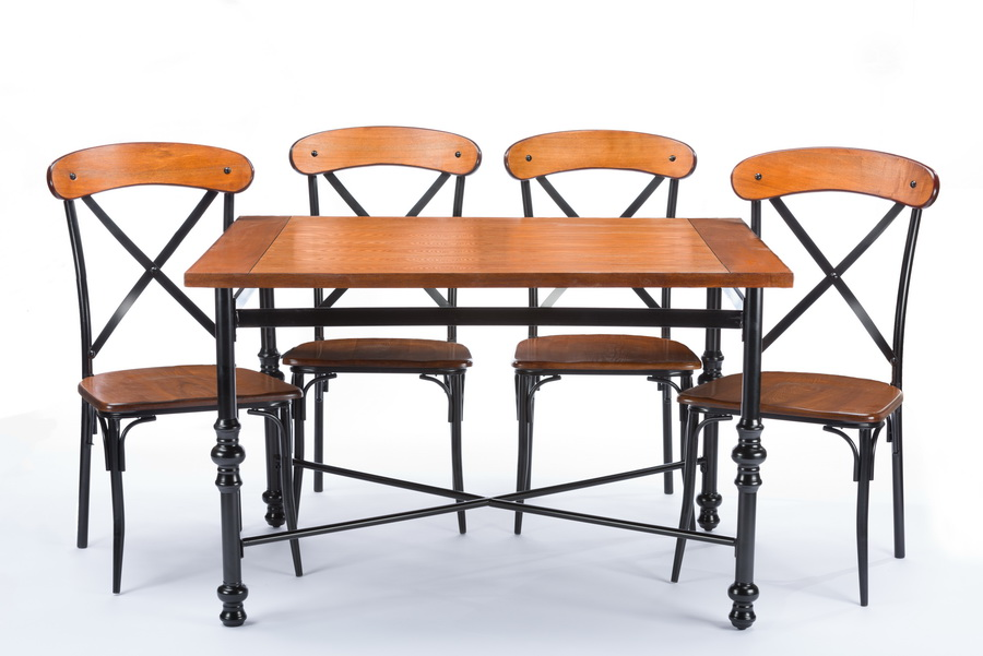Baxton Studio Broxburn Light Brown Wood U0026 Metal 5 Piece Dining Set