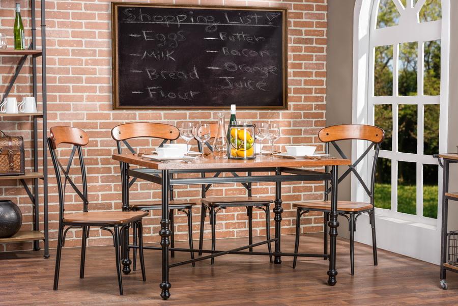 Baxton StudioBroxburn Light Brown Wood Metal Dining Table