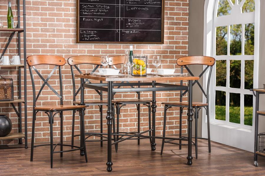 Baxton StudioBroxburn Light Brown Wood & Metal Pub Table ...