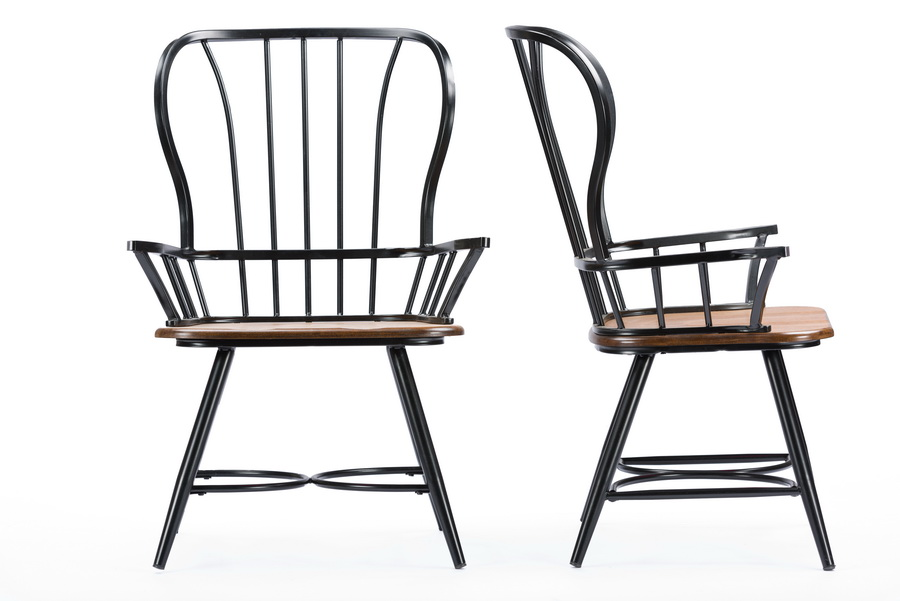 Surprising Baxton Studiolongford Dark Walnut Wood And Black Metal Squirreltailoven Fun Painted Chair Ideas Images Squirreltailovenorg