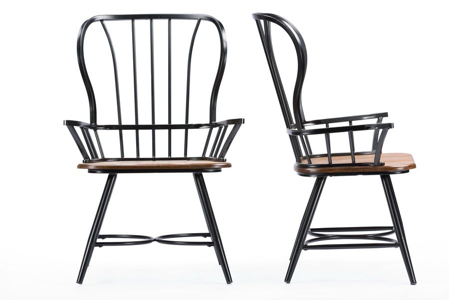 "Black Metal Dining Chairs baxton studiolongford ""dark-walnut"" wood and black metal vintage"