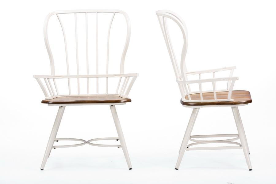 Baxton studiolongford dark walnut wood and white metal for Cheap modern industrial furniture