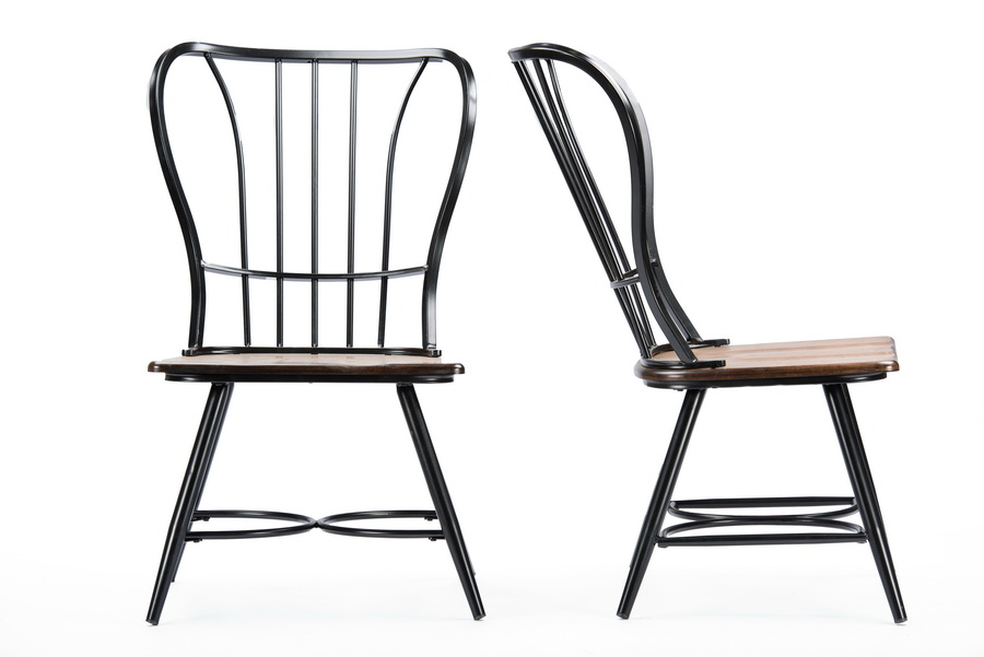 Baxton Studiolongford Dark Walnut Wood And Black Metal Vintage Dining Chair Affordable Modern Furniture In Chicago
