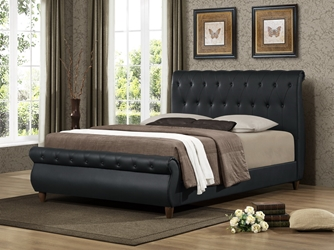 Baxton Studio Ashenhurst Black Modern Sleigh Bed with Upholstered Headboard - Queen Size affordable modern furniture in Chicago, Baxton Studio Ashenhurst Black Modern Sleigh Bed with Upholstered Headboard - Queen Size, Bedroom Furniture Chicago