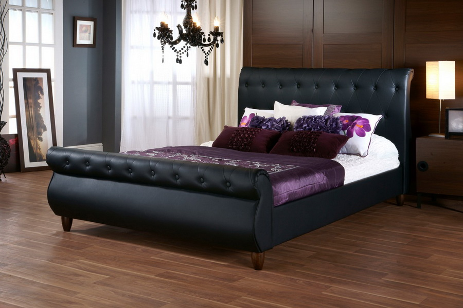 baxton studio ashenhurst black modern sleigh bed with upholstered headboard queen size bsocf8201b - Sleigh Bed Frame Queen