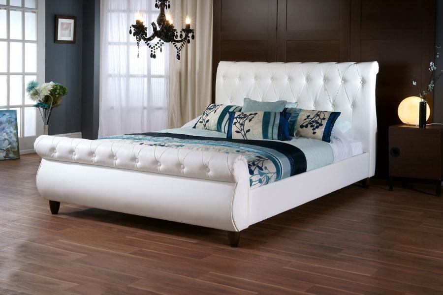 white angie upholstered linen bed king studio modern sleigh headboard full size queen