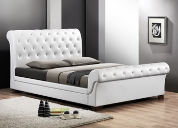Baxton Studio Leighlin White Modern Sleigh Bed with Upholstered Headboard - Queen Size affordable modern furniture in Chicago, Baxton Studio Leighlin White Modern Sleigh Bed with Upholstered Headboard - Queen Size, Bedroom Furniture Chicago