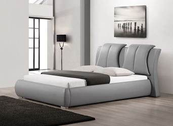 Baxton Studio Malloy Gray Modern Bed with Upholstered Headboard - Queen Size affordable modern furniture in Chicago, Baxton Studio Malloy Gray Modern Bed with Upholstered Headboard - Queen Size, Bedroom Furniture Chicago