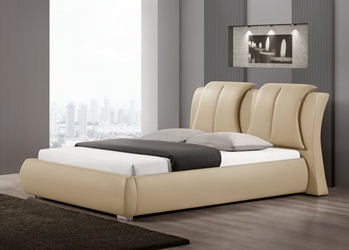 Baxton Studio Malloy Warm Beige Modern Bed with Upholstered Headboard - Queen Size affordable modern furniture in Chicago, Baxton Studio Malloy Warm Beige Modern Bed with Upholstered Headboard - Queen Size, Bedroom Furniture Chicago
