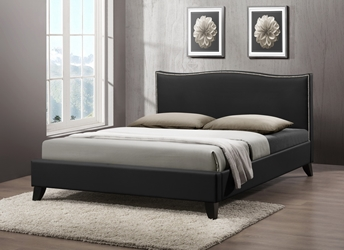 Baxton Studio Battersby Black Modern Bed with Upholstered Headboard - Queen Size affordable modern furniture in Chicago, Baxton Studio Battersby Black Modern Bed with Upholstered Headboard - Queen Size, Bedroom Furniture Chicago