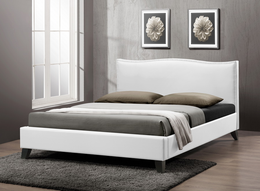 baxton studio battersby white modern bed with upholstered, Headboard designs