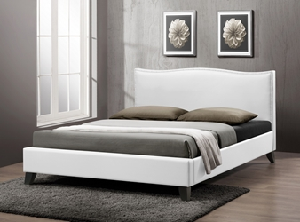 Baxton Studio Battersby White Modern Bed with Upholstered Headboard - Queen Size affordable modern furniture in Chicago, Baxton Studio Battersby White Modern Bed with Upholstered Headboard - Queen Size, Bedroom Furniture Chicago
