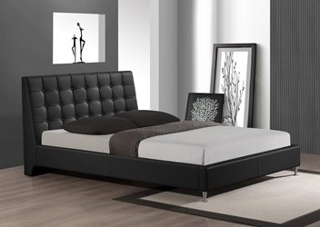 Baxton Studio Zeller Black Modern Bed with Upholstered Headboard - Queen Size affordable modern furniture in Chicago, Baxton Studio Zeller Black Modern Bed with Upholstered Headboard - Queen Size, Bedroom Furniture Chicago