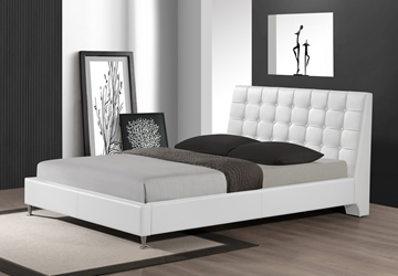 Baxton Studio Zeller White Modern Bed with Upholstered Headboard - Queen Size affordable modern furniture in Chicago, Baxton Studio Zeller White Modern Bed with Upholstered Headboard - Queen Size, Bedroom Furniture Chicago