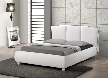Baxton Studio Goodrick White Modern Bed with Upholstered Headboard - Queen Size affordable modern furniture in Chicago, Baxton Studio Goodrick White Modern Bed with Upholstered Headboard - Queen Size, Bedroom Furniture Chicago