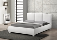 Baxton Studio Goodrick White Modern Bed with Upholstered Headboard - Full Size affordable modern furniture in Chicago, Baxton Studio Goodrick White Modern Bed with Upholstered Headboard - Full Size, Bedroom Furniture Chicago
