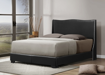 Baxton Studio Duncombe Black Modern Bed with Upholstered Headboard - Queen Size affordable modern furniture in Chicago, Baxton Studio Duncombe Black Modern Bed with Upholstered Headboard - Queen Size, Bedroom Furniture Chicago