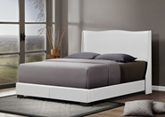 Baxton Studio Duncombe White Modern Bed with Upholstered Headboard - Queen Size affordable modern furniture in Chicago, Baxton Studio Duncombe White Modern Bed with Upholstered Headboard - Queen Size, Bedroom Furniture Chicago