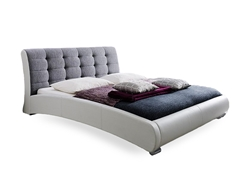 Baxton Studio Guerin Contemporary White Faux Leather Grey Fabric Two Tone Upholstered Grid Tufted King-Size Platform Bed Bedroom Furniture/Futuristic Platform Bed/Modern Bed/White/Grey/King/Faux Leather Upholstery/Fabric Headboard